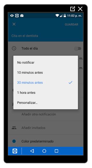 Opciones para crear notificaciones