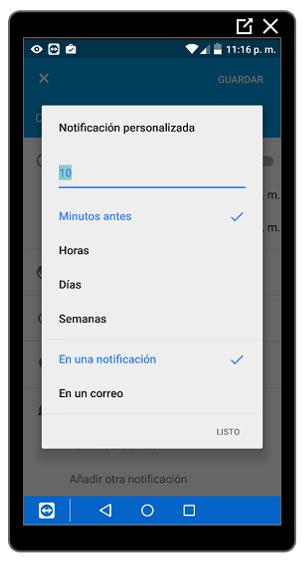 Personalización de la notificación