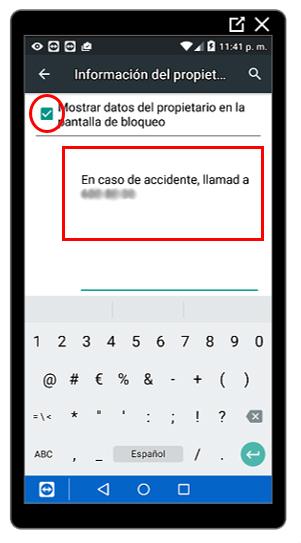 Opción para mostrar un mensaje en la pantalla de bloqueo