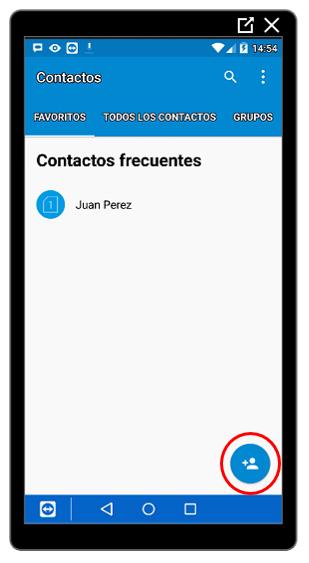 Botón para añadir contactos
