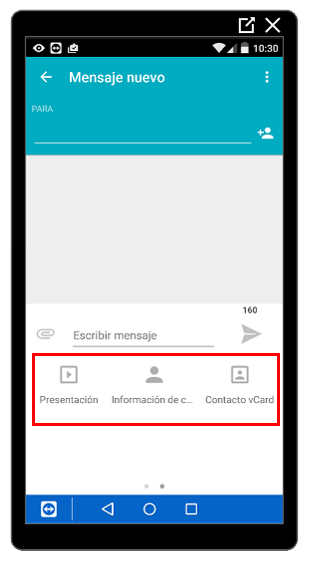 Más opciones para adjuntar archivos a un mensaje
