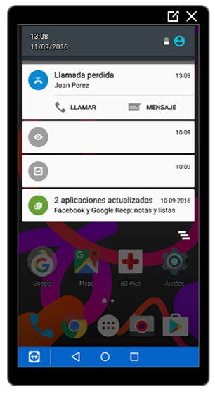 Notificaciones desplegadas