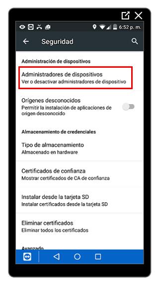 Opción Administradores de dispositivos