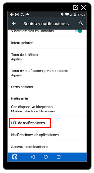 Opción Led de notificaciones
