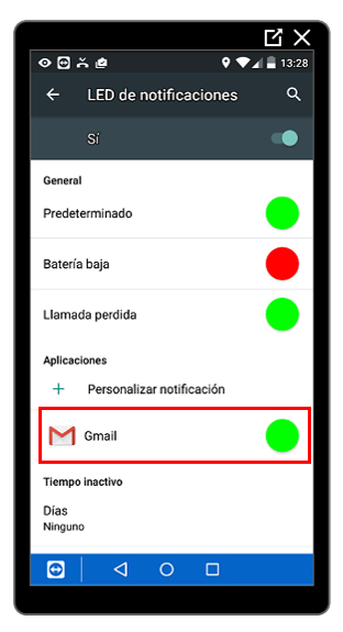 Notificación de gmail creada