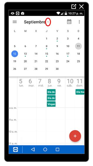 Mes completo en el calendario