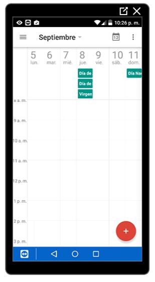 Vista semanal en el calendario