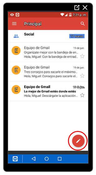 Botón para crear nuevos mensajes