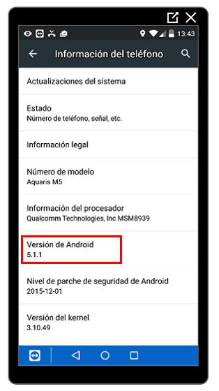 Versión de Android instalada